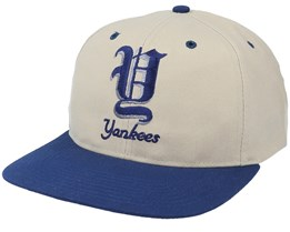 New York Yankees Old English Logo MLB Vintage Beige/Blue Snapback - Twins Enterprise