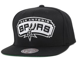 reputable site 6605c 17a44 San Antonio Spurs Wool Solid 2 Black Snapback - Mitchell   Ness