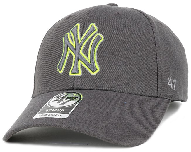 reputable site 56d37 fe810 NY Yankees Triple Rush Mvp Charcoal Lime Green Adjustable - 47 Brand