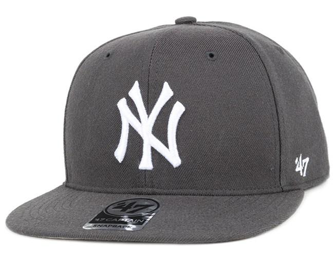 wholesale dealer 3043e 1ee02 NY Yankees No Shot Captain Charcoal White Snapback - 47 Brand