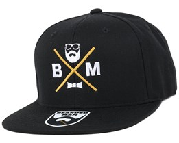 BM Cross Black Snapback - Bearded Man