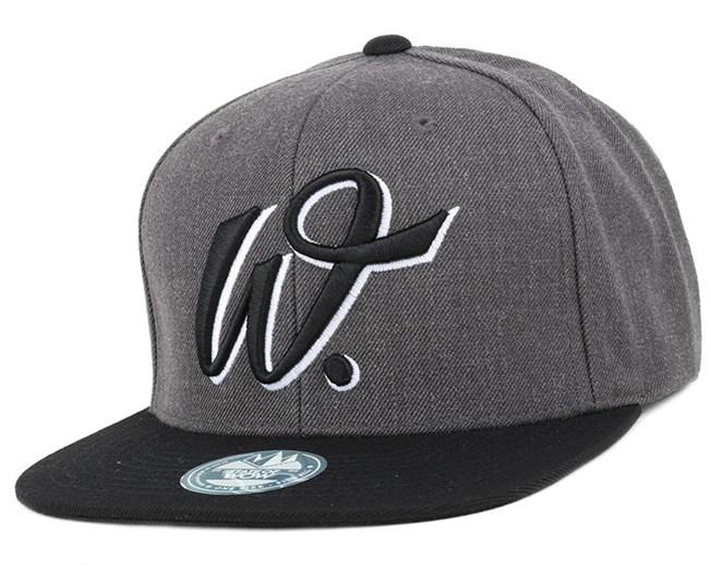 Walker street Dark Grey Melange Black Snapback - State Of Wow caps ... dd624400629
