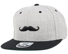 Mustache Logo Grey/Black Snapback - Bearded Man
