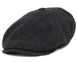 Oregon Wool Heringbone Black Flat Cap - Stetson