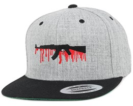 Bloody AK47 Grey/Black Snapback - GUNS n SKULLS