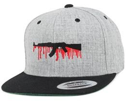 Bloody AK47 Grey/Black Snapback - GUNS n SKULLS
