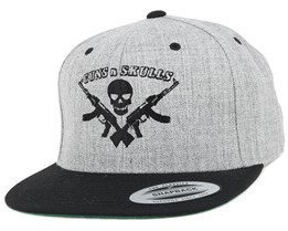 Logo Grey/Black Snapback - GUNS n SKULLS