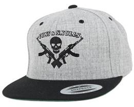 Logo Grey/Black Snapback - GUNS n SKULLS