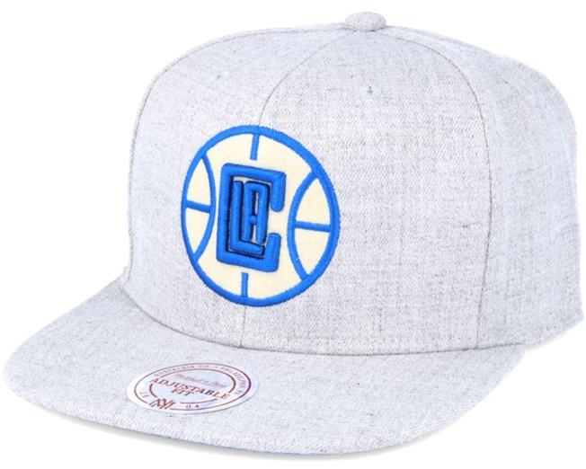 LA Clippers Grey Heather Snapback - Mitchell   Ness caps - Hatstore.no 53835f1fe8cc