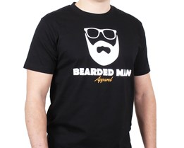 Logo Glasses Black T-Shirt - Bearded Man
