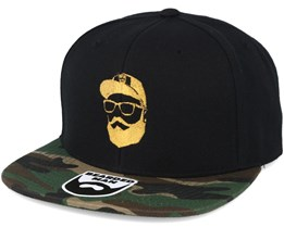 Cap Man Black/Camo Snapback - Bearded Man