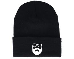 Logo Black Beanie - Bearded Man