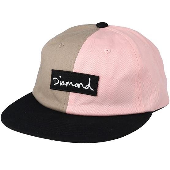 Keps Split Script Uc 6 Panel Pink Strapback - Diamond - Rosa Snapback