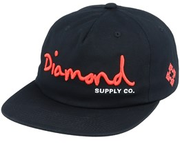Script Unstructured Black/Red Snapback - Diamond
