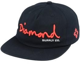 Script Unstructured Black/Red Snapback - Diamond