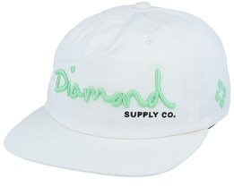 Script Unstructured White/Mint Snapback - Diamond