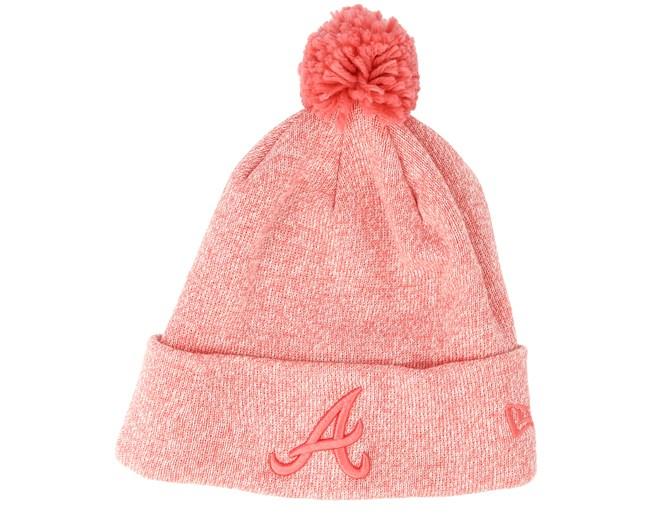 dcc22ad8 Atlanta Braves Womens Essential Bobble Knit Blossom Heather Beanie ...