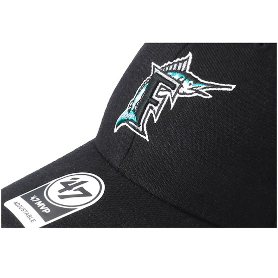 the best attitude 5295e 6a74a Miami Marlins Cooperstown Mvp Black Adjustable - 47 Brand cap -  Hatstore.co.in