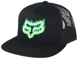 Flame Head Black/Green Trucker - Fox