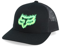 Kids Flame Head Black/Green Trucker - Fox