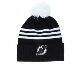 New Jersey Devils 3-Stripe Cuffed Black Pom - Adidas