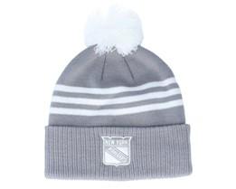 New York Rangers 3-Stripe Cuffed Grey Pom - Adidas