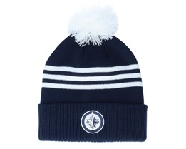 Winnipeg Jets 3-Stripe Cuffed Navy Pom - Adidas