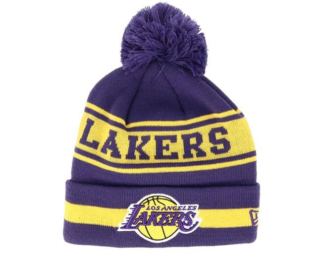 c9a3318903b1a LA Lakers Team Jake Purple Yellow Pom - New Era beanies - Hatstoreworld.com