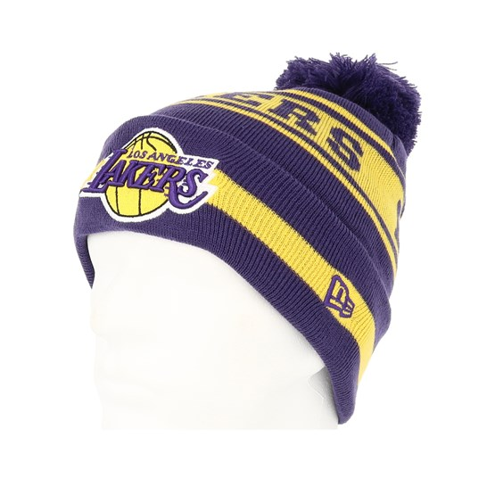 d6fec68417a LA Lakers Team Jake Purple Yellow Pom - New Era beanies - Hatstoreworld.com