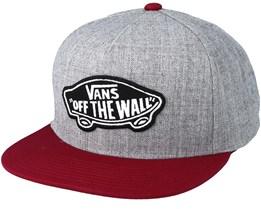 Classic Patch Heather Grey/Maroon Snapback - Vans