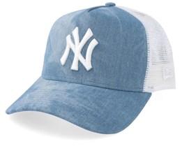 New York Yankees Women Tie Dye A-Frame Blue/White Trucker - New Era