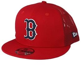 505d536eb44 Boston Red Sox League Essential Team 9Fifty Red Black Trucker - New Era