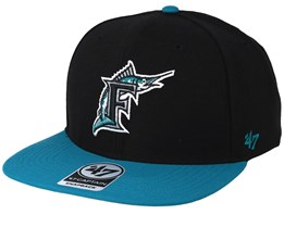 Florida Marlins No Shot Two Tone 47 Captain Wool Black/Teal Snapback - 47 Brand