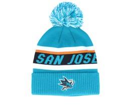 San Jose Sharks Cuffed Knit Blue/Black Pom - Adidas