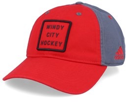 Chicago Blackhawks Cotton Slouch Red/Grey Adjustable - Adidas