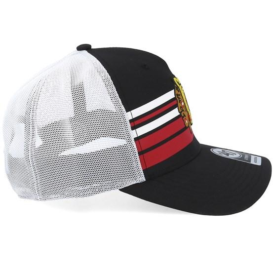 1e3fb67208055 Chicago Blackhawks Black Altitude 47 Mvp Mesh Black White Red Trucker - 47  Brand caps