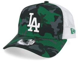 buy popular 87ba6 e21fa Los Angeles Dodgers Green and Grey Camo White Trucker - New Era