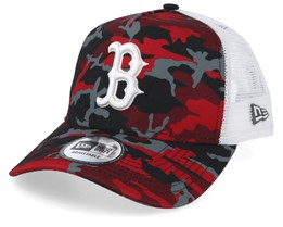 Boston Red Sox Red, Black and Grey Camo/White Trucker - New Era