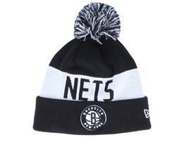 Brooklyn Nets Tonal Knit Black/White Pom - New Era