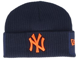 New York Yankees Utility Cuff Knit Navy/Orange Short Beanie - New Era