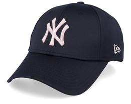 New York Yankees Womens Satin 9Forty Black/Light Pink Adjustable - New Era