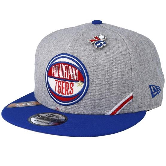 Keps Philadelphia 76ers 19 NBA 9Fifty Draft Heather Grey/Royal Snapback - New Era - Grå Snapback