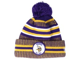 Minnesota Vikings On Field 19 Sport Knit 2 Purple/Yellow Pom - New Era