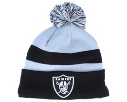 Oakland Raiders NFL Striped Cuff Knit Black/Grey Pom - New Era