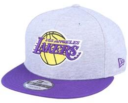 LA Lakers 9Fifty Jersey Essential Heather Grey/Purple Snapback - New Era