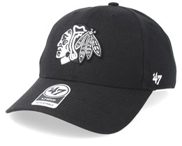 Chicago Blackhawks 47 Mvp Wool Black/Black & White Adjustable - 47 Brand