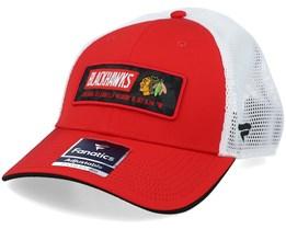 Chicago Blackhawks Iconic Defender Athletic Red/White Trucker - Fanatics