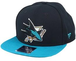 San Jose Sharks Iconic Defender Black/Active Blue Snapback - Fanatics