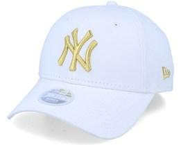 New York Yankees New York Yankees Womens Metallic 9Forty White/Gold Adjustable - New Era