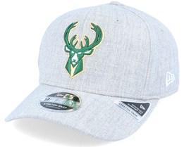 Milwaukee Bucks Heather Base 9Fifty Stretch Snap Heather Grey/Green Adjustable - New Era